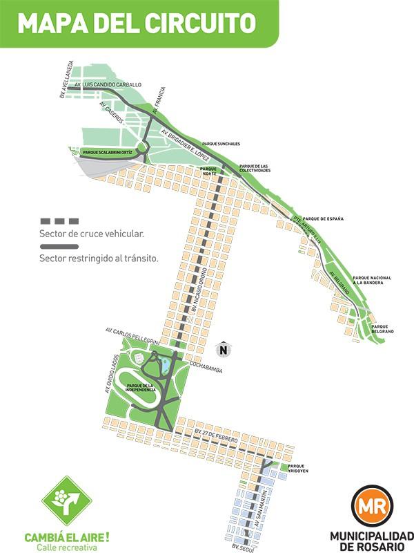 Plano del recorrido de la Calle Recreativa