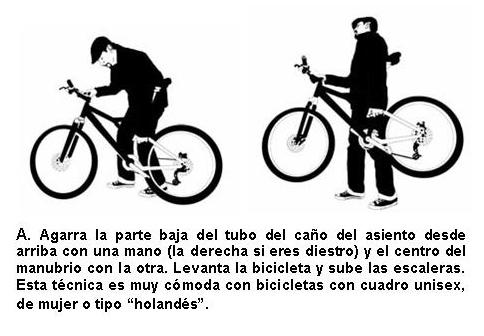 Subir escaleras con bicicleta: tomar la parte inferior del tubo vertical y la otra mano en el manubrio