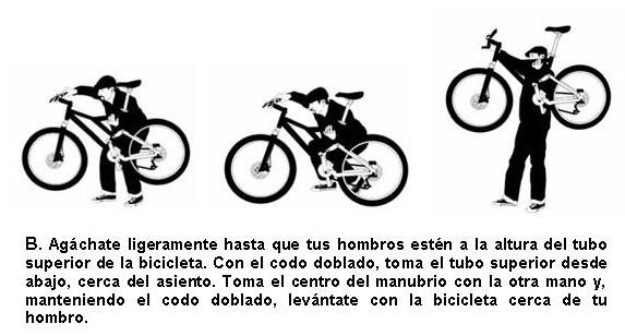 Subir escaleras con bicicleta: agacharse, tomar el tubo superior a la altura del hombro y el manubrio con la otra mano. Levantarse haciendo fuerza con las piernas.