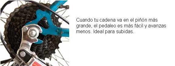 Cuando tu cadena va en el piñón trasero más grande: el pedaleo es más fácil y avanzás menos. Ideal en subidas.