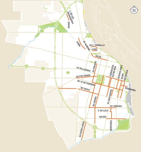 Plano de ciclovías y bicisendas en Rosario