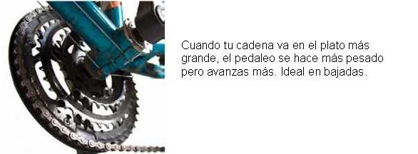 Cuando tu cadena va en el plato más grande: el pedaleo es más pesado pero se avanza más. Ideal en bajadas.